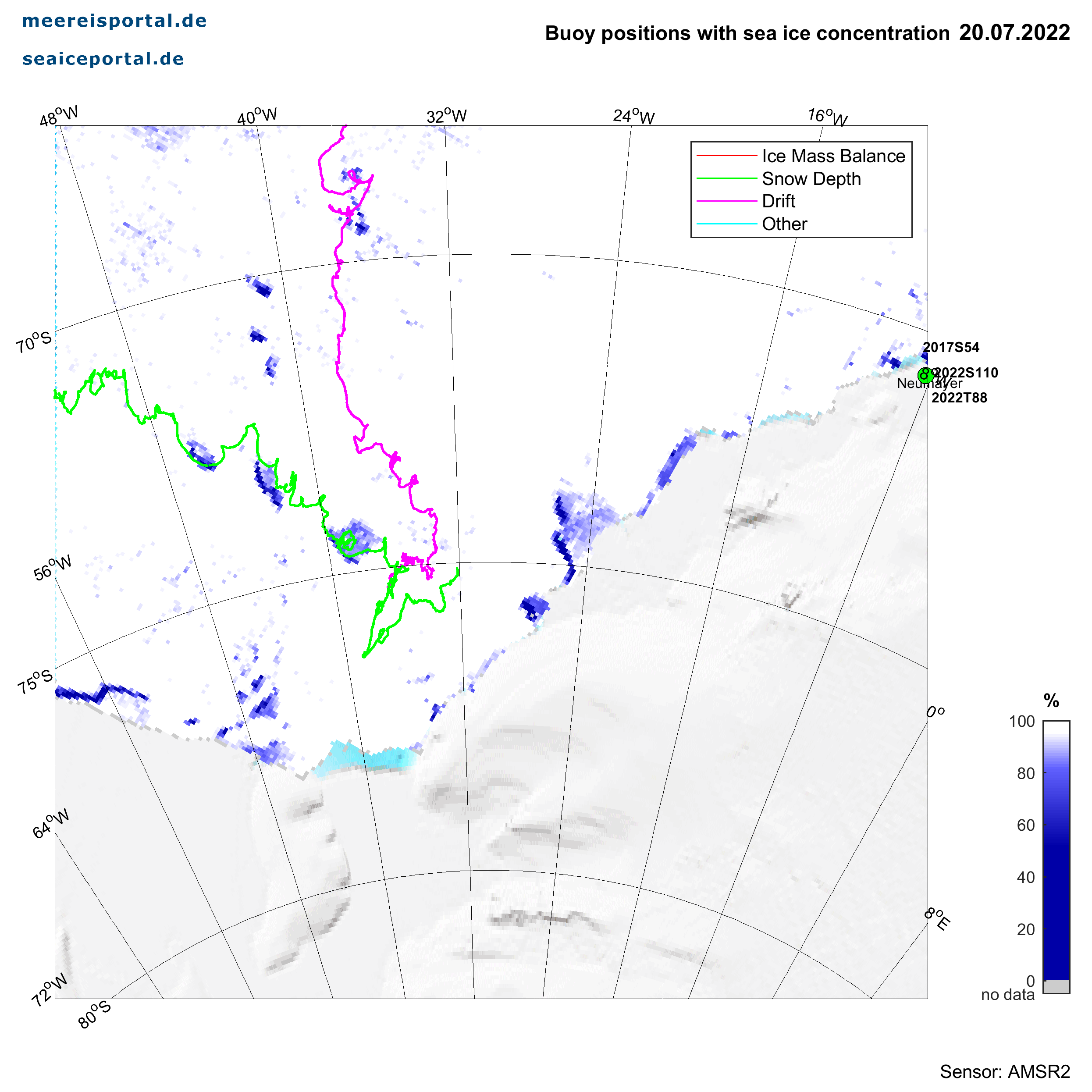 Karte der antarktischen Bojen