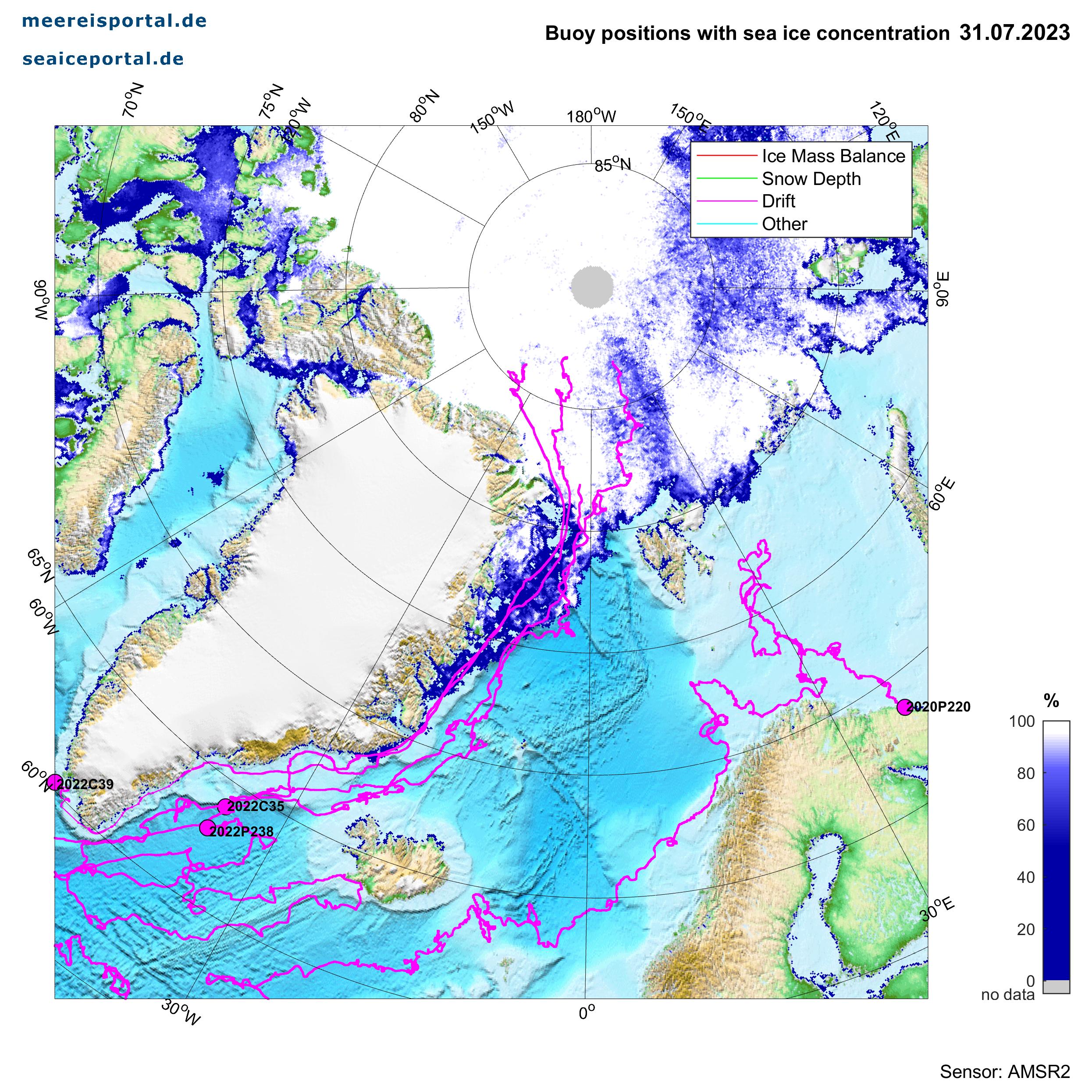 Karte der arktischen Bojen