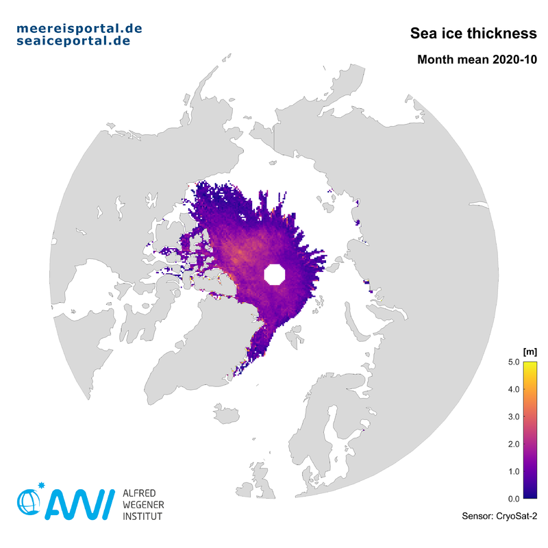 Cryosat-2 month mean map of the arctic sea ice thickness in October 2020