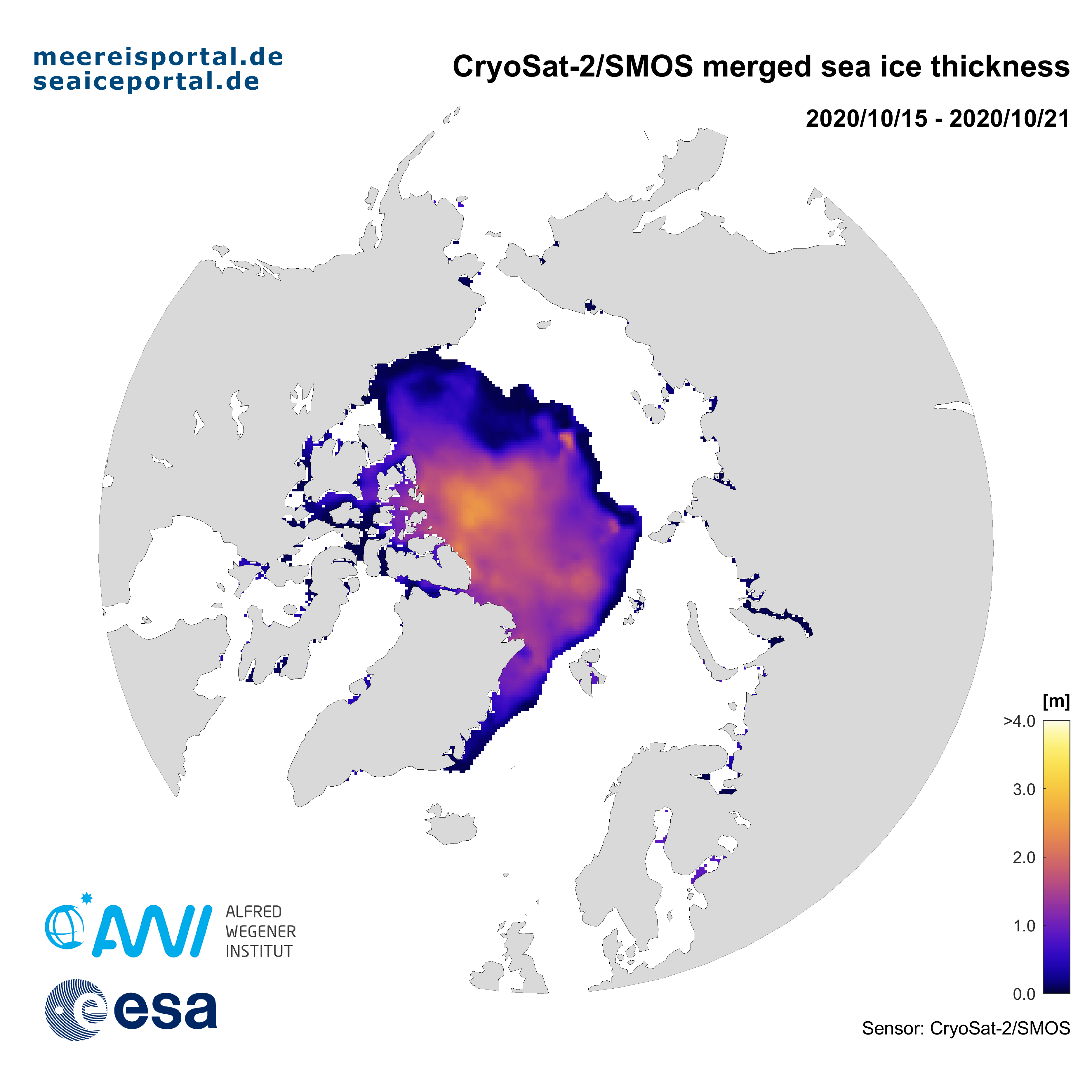 CryoSat-2/SMOS (ESA) combination map of the weekly arctic sea ice thickness from 15.10.2020