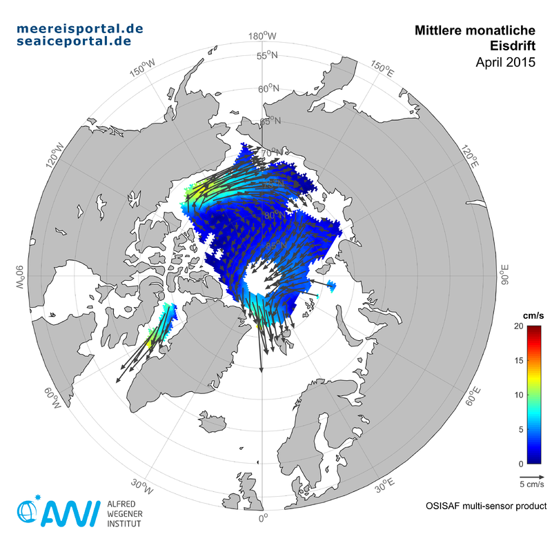 Map of the monthly mean ice drift in the Arctic from April 2015
