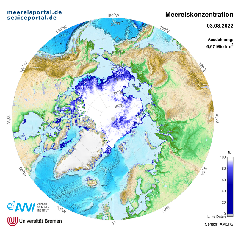 AMSR2 recent maps of the arctic sea ice concentration