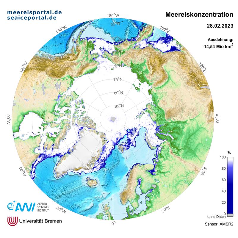 AMSR2 aktuelle Karte der arktischen Meereiskonzentration