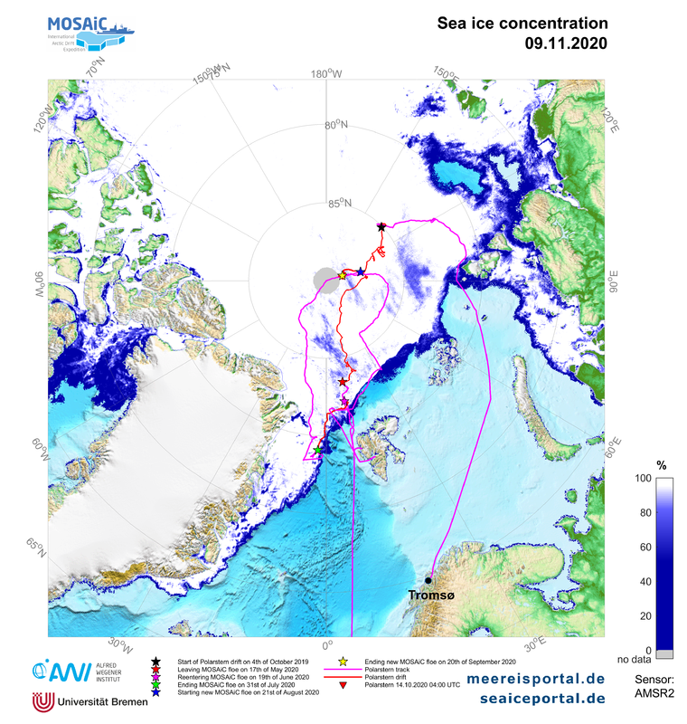 arctic map of the sea ice concentration and cruise track of Polarstern during the MOSAiC expedition