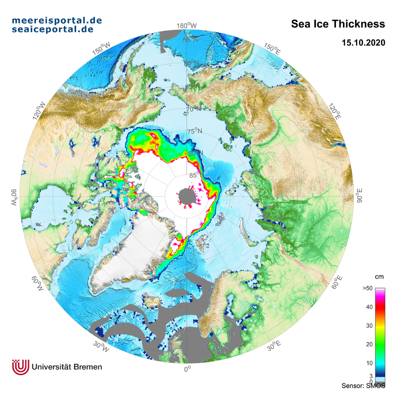 SMOS (ESA) recent map of the arctic thin sea ice thickness calculated by University of Bremen
