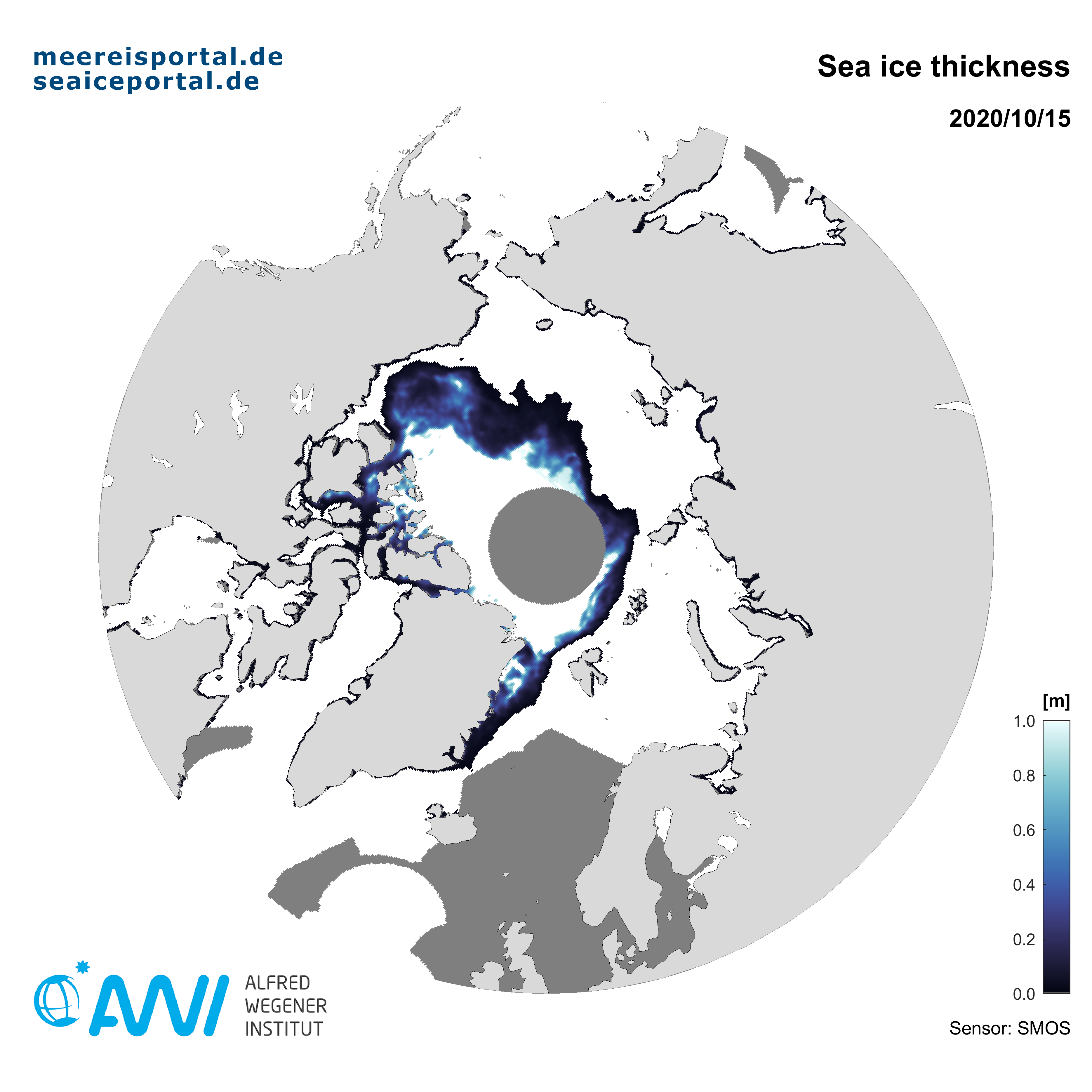 SMOS (ESA) recent map of the arctic thin sea ice thickness calculated by AWI